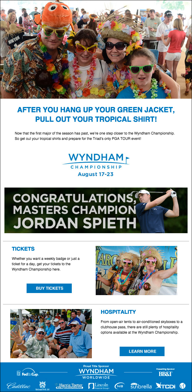 Wyndham Championship - Masters email