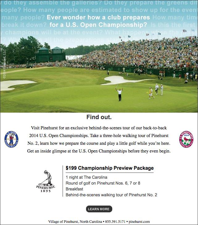 Pinehurst Resort U.S. Open Championship email