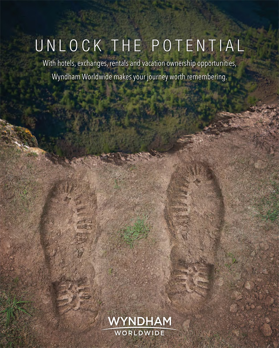 Wyndham Worldwide - Unlock the potential - floor decal - mountain